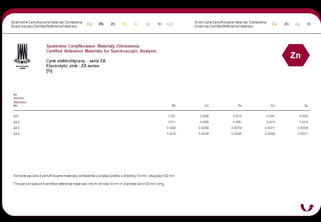 Spektralne Certyfikowane Materiały Odniesienia Certified Reference Materials for Spectroscopic Analysis Cynk elektrolityczny - seria ZA Electrolytic z