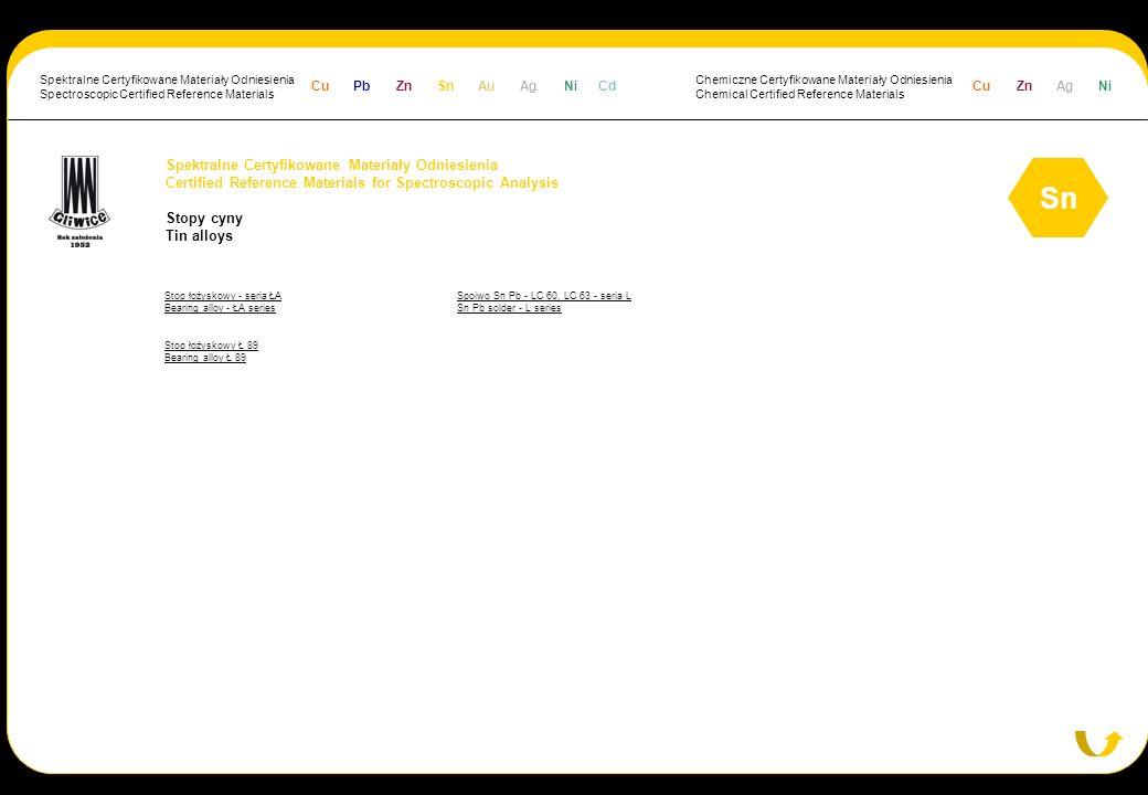 Spektralne Certyfikowane Materiały Odniesienia Certified Reference Materials for Spectroscopic Analysis Stopy cyny Tin alloys Sn Stop łożyskowy - seri
