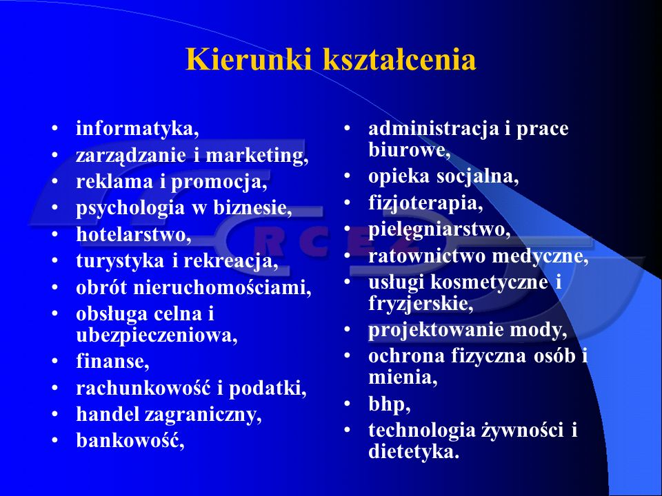 Kształcenie w szkołach policealnych Obecnie w Polsce jest około 800 szkół policealnych, kształcących bezpłatnie lub odpłatnie.