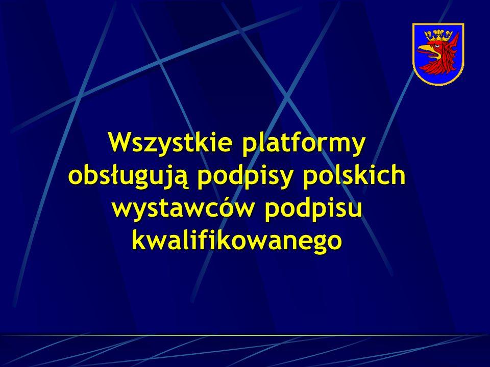 Wszystkie platformy obsługują podpisy polskich wystawców podpisu kwalifikowanego