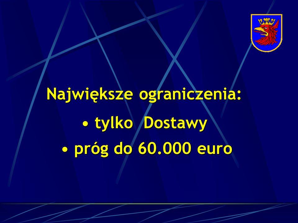 Największe ograniczenia: tylko Dostawy tylko Dostawy próg do 60.000 euro próg do 60.000 euro