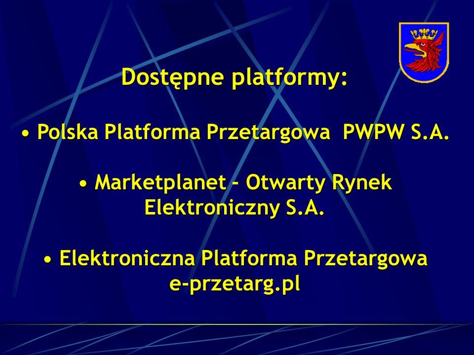 Dostępne platformy: Polska Platforma Przetargowa PWPW S.A.