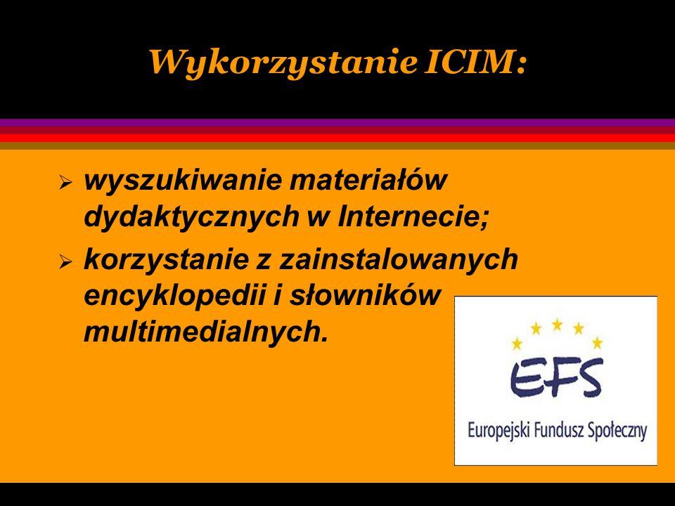 Internetowe Centrum Informacji Multimedialnej ICIM zostało współfinansowane przez MENiS ze środków Europejskiego Funduszu Społecznego. Otrzymaliśmy cz