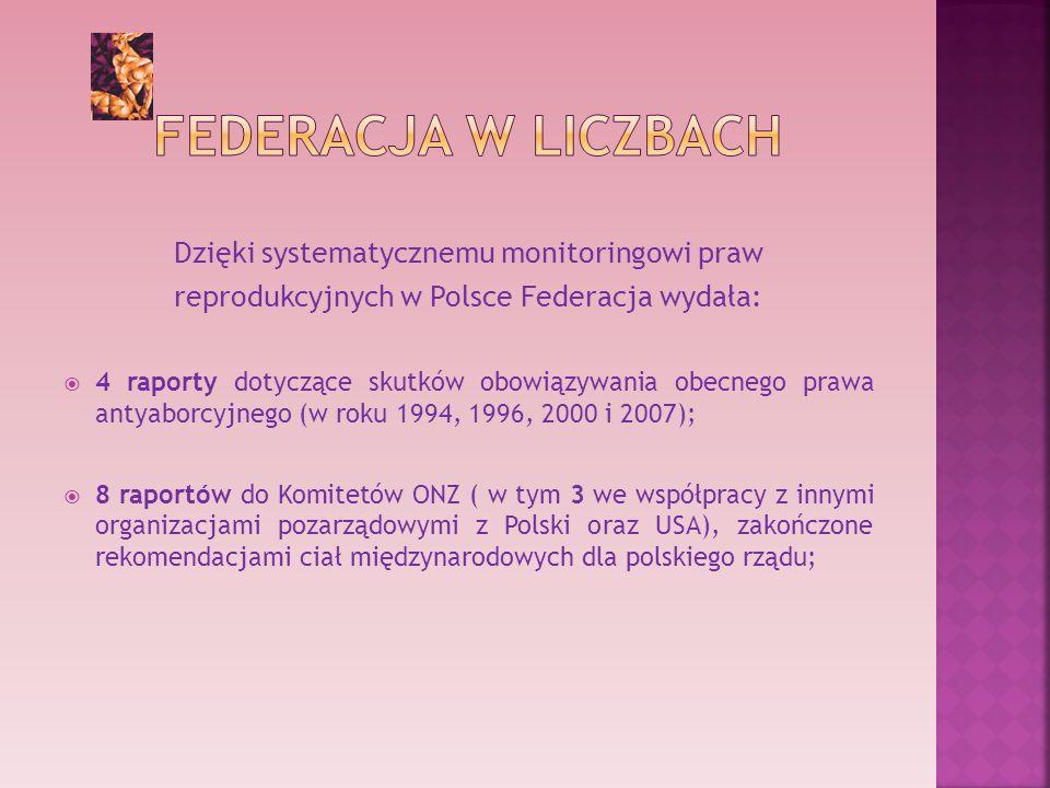 Dzięki systematycznemu monitoringowi praw reprodukcyjnych w Polsce Federacja wydała: 4 raporty dotyczące skutków obowiązywania obecnego prawa antyaborcyjnego (w roku 1994, 1996, 2000 i 2007); 8 raportów do Komitetów ONZ ( w tym 3 we współpracy z innymi organizacjami pozarządowymi z Polski oraz USA), zakończone rekomendacjami ciał międzynarodowych dla polskiego rządu;