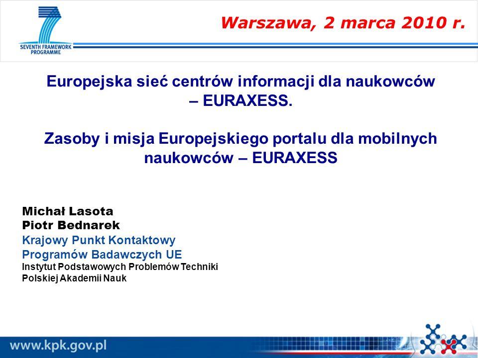 Europejska sieć centrów informacji dla naukowców – EURAXESS.
