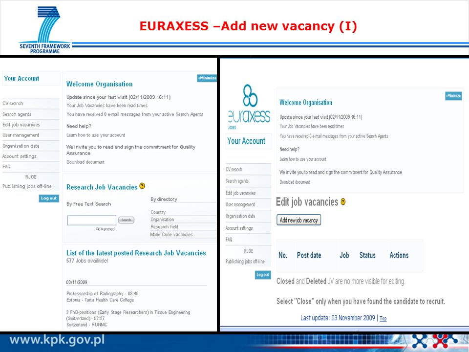 EURAXESS –Add new vacancy (I)