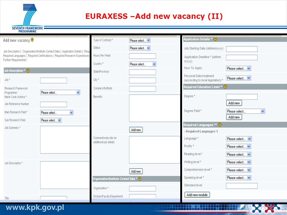 EURAXESS –Add new vacancy (II)