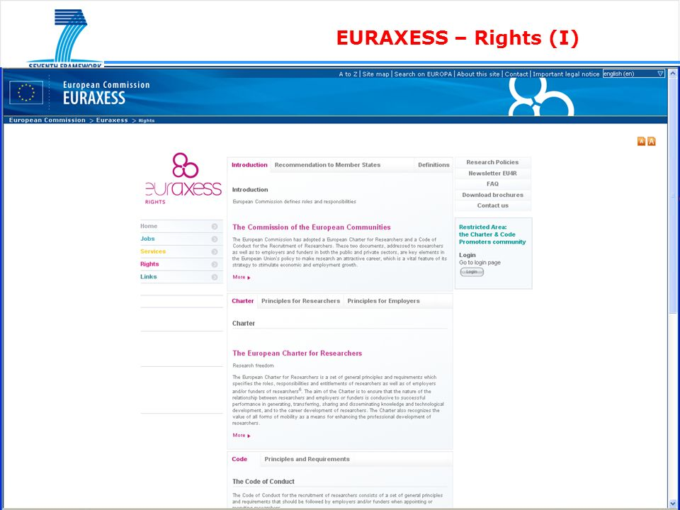 EURAXESS – Rights (I)
