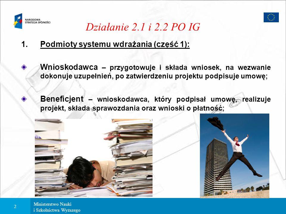 Ministerstwo Nauki i Szkolnictwa Wyższego 1 Działanie 2.1 i 2.2 PO IG System wdrażania działań: 1.Podmioty systemu wdrażania; 2.Dokumenty; 3. Ocena pr