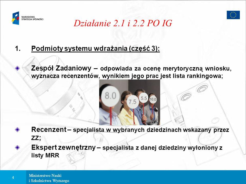 Ministerstwo Nauki i Szkolnictwa Wyższego 3 Działanie 2.1 i 2.2 PO IG 1.Podmioty systemu wdrażania (część 2): Instytucja Pośrednicząca – Minister Nauk