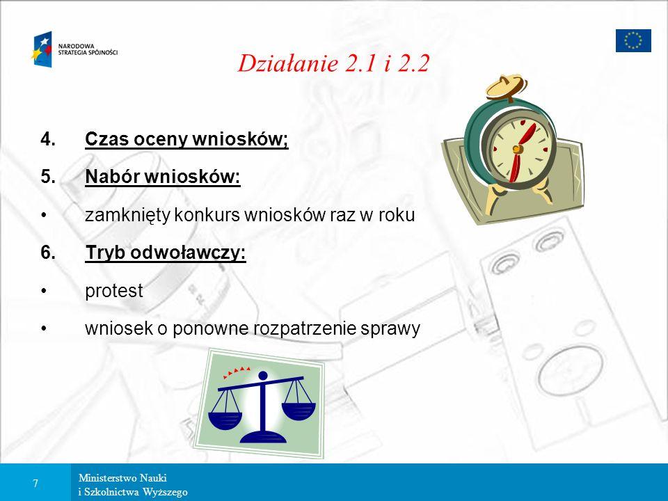 Ministerstwo Nauki i Szkolnictwa Wyższego 6 Działanie 2.1 i 2.2 Umowa 3.Ocena projektu: Wniosek Rejestracja Ocena formalna Negatywna Pozytywna Uzupełn