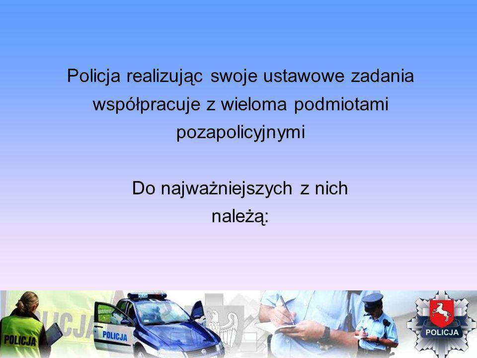Policja realizując swoje ustawowe zadania współpracuje z wieloma podmiotami pozapolicyjnymi Do najważniejszych z nich należą: