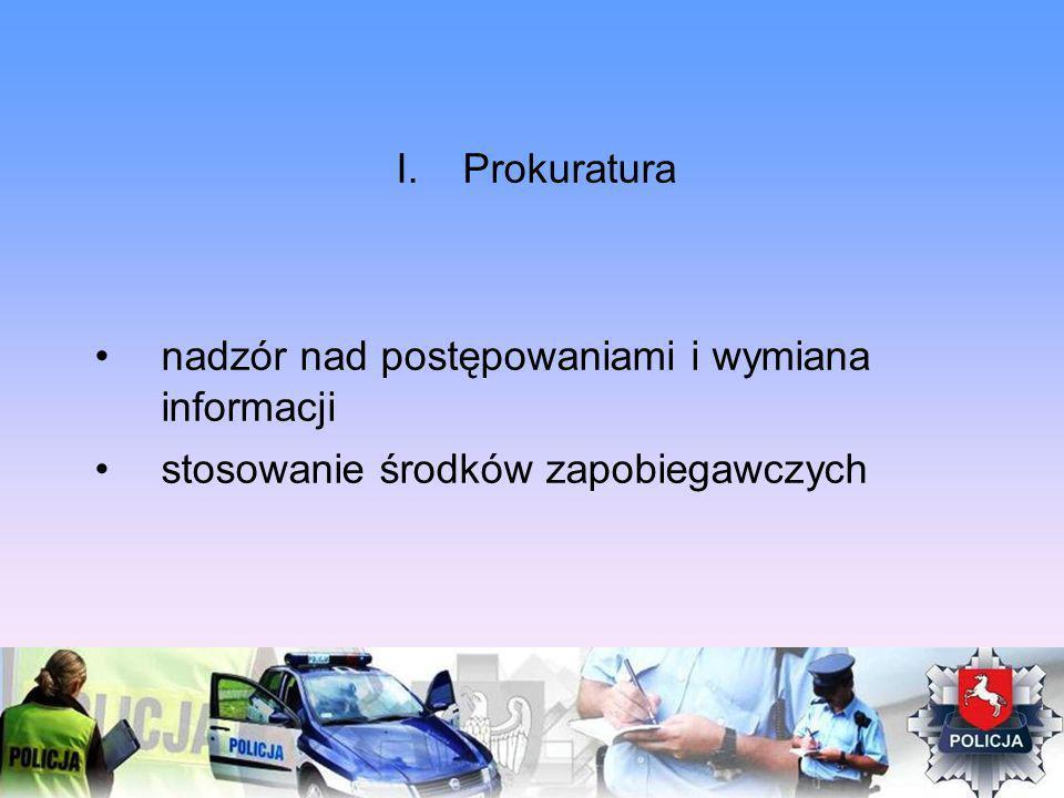 I.Prokuratura nadzór nad postępowaniami i wymiana informacji stosowanie środków zapobiegawczych
