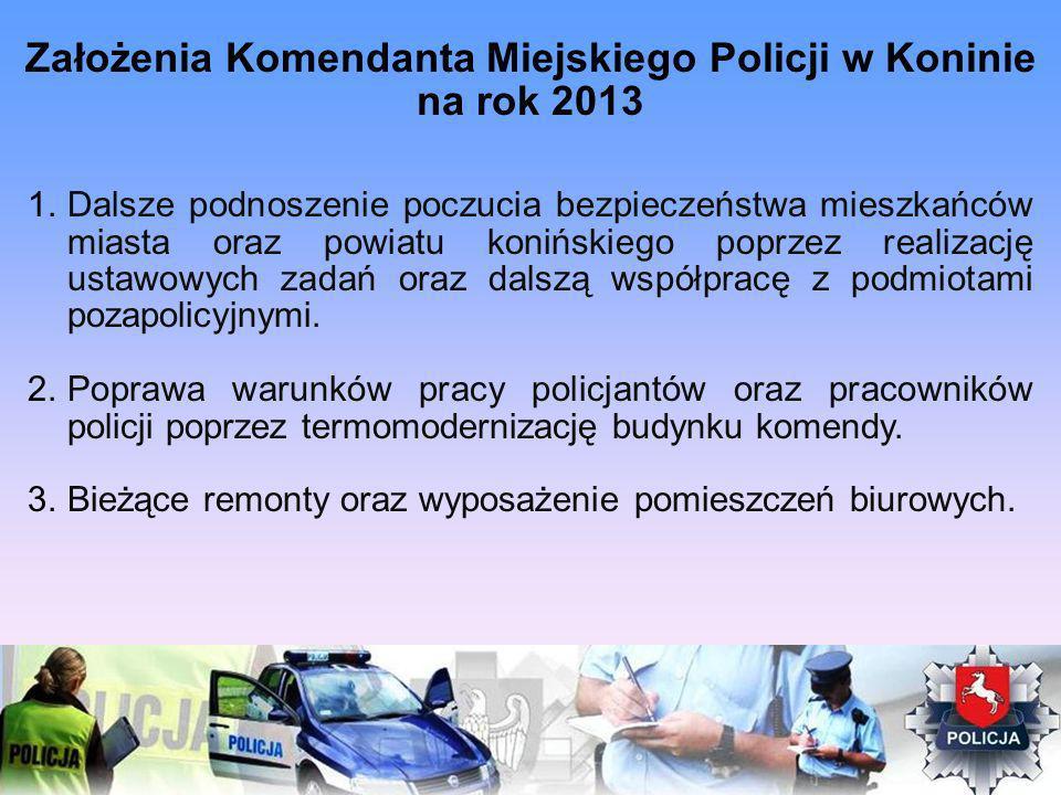 Założenia Komendanta Miejskiego Policji w Koninie na rok 2013 1.Dalsze podnoszenie poczucia bezpieczeństwa mieszkańców miasta oraz powiatu konińskiego poprzez realizację ustawowych zadań oraz dalszą współpracę z podmiotami pozapolicyjnymi.