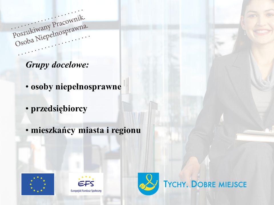 Grupy docelowe: osoby niepełnosprawne przedsiębiorcy mieszkańcy miasta i regionu