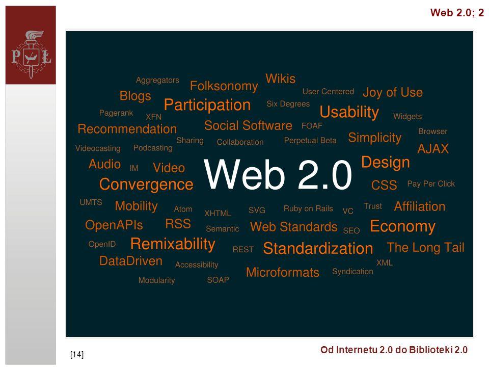 Od Internetu 2.0 do Biblioteki 2.0 http://www.slideshare.net/RenegadeSaw/leveraging-user-generated-content/ UGC (User Generated Content) to przejaw ogólniejszego trendu – władza konsumenta, user control - everything personalized, customized and on demand http://www.time.com/time/magazine/article/0,9171,1569514,00.html (grudzień 2006) [16] Web 2.0; 3 [15]