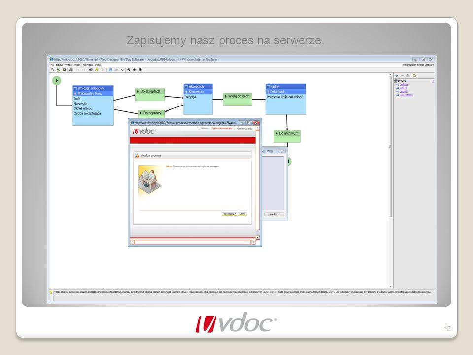 Zapisujemy nasz proces na serwerze. 15