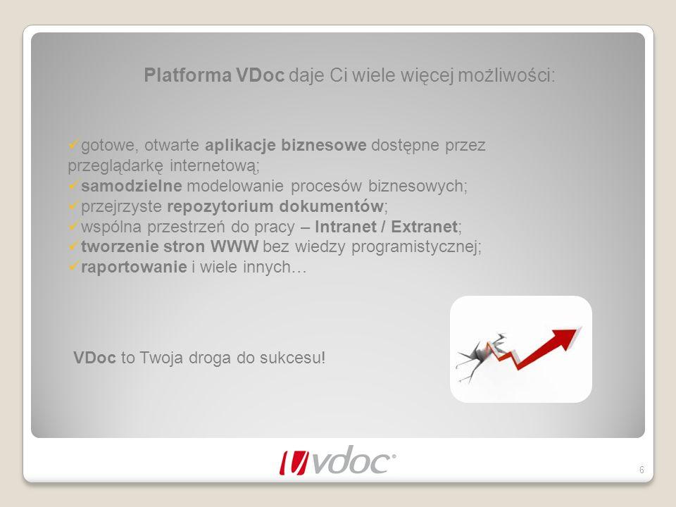 Platforma VDoc daje Ci wiele więcej możliwości: 6 VDoc to Twoja droga do sukcesu! gotowe, otwarte aplikacje biznesowe dostępne przez przeglądarkę inte
