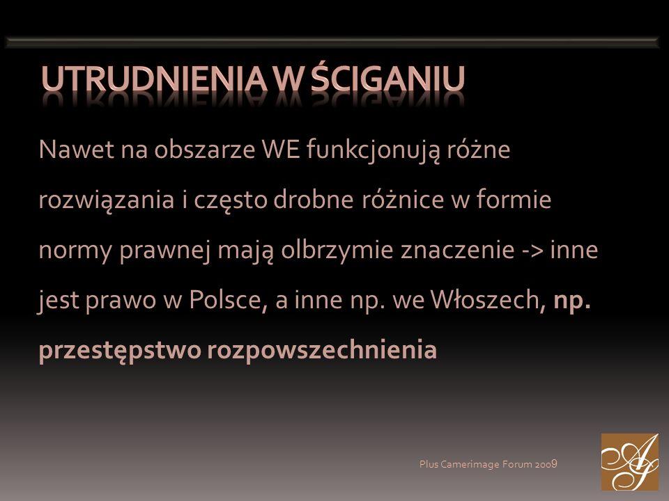 Plus Camerimage Forum 200 9 Nawet na obszarze WE funkcjonują różne rozwiązania i często drobne różnice w formie normy prawnej mają olbrzymie znaczenie -> inne jest prawo w Polsce, a inne np.