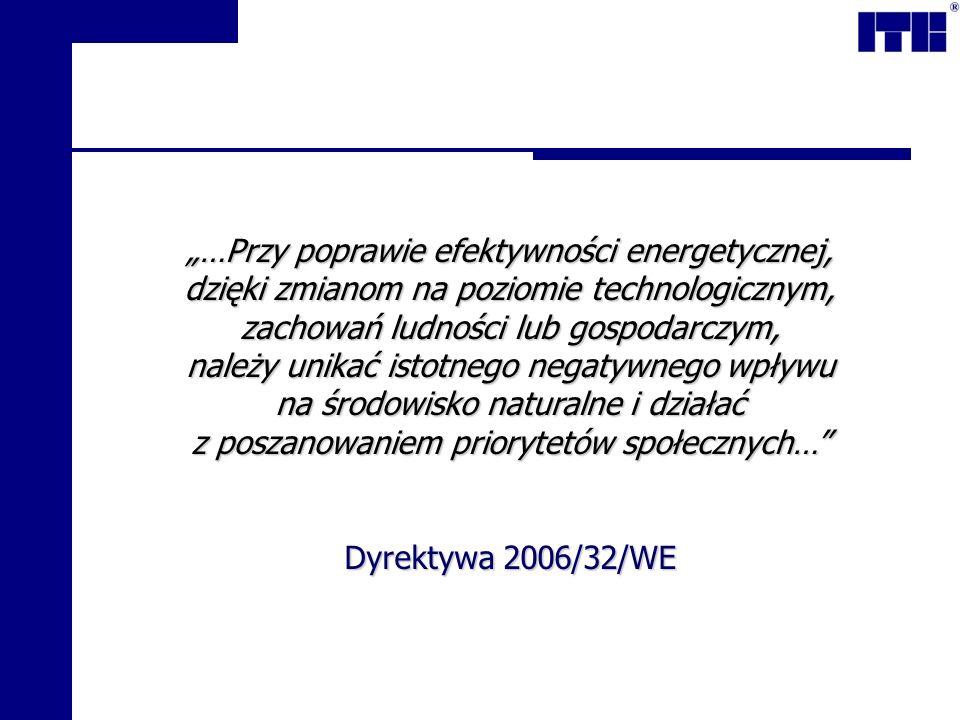 …Przy poprawie efektywności energetycznej, dzięki zmianom na poziomie technologicznym, zachowań ludności lub gospodarczym, należy unikać istotnego negatywnego wpływu na środowisko naturalne i działać z poszanowaniem priorytetów społecznych… Dyrektywa 2006/32/WE