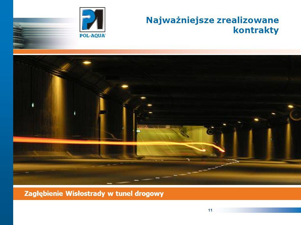 11 Najważniejsze zrealizowane kontrakty Zagłębienie Wisłostrady w tunel drogowy