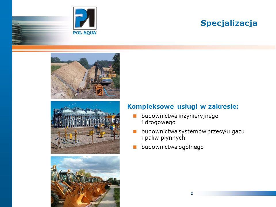2 Specjalizacja Kompleksowe usługi w zakresie: budownictwa inżynieryjnego i drogowego budownictwa systemów przesyłu gazu i paliw płynnych budownictwa ogólnego