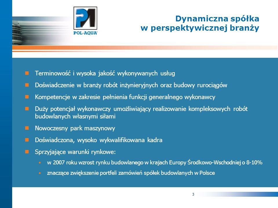3 Dynamiczna spółka w perspektywicznej branży Terminowość i wysoka jakość wykonywanych usług Doświadczenie w branży robót inżynieryjnych oraz budowy rurociągów Kompetencje w zakresie pełnienia funkcji generalnego wykonawcy Duży potencjał wykonawczy umożliwiający realizowanie kompleksowych robót budowlanych własnymi siłami Nowoczesny park maszynowy Doświadczona, wysoko wykwalifikowana kadra Sprzyjające warunki rynkowe: w 2007 roku wzrost rynku budowlanego w krajach Europy Środkowo-Wschodniej o 8-10% znaczące zwiększenie portfeli zamówień spółek budowlanych w Polsce