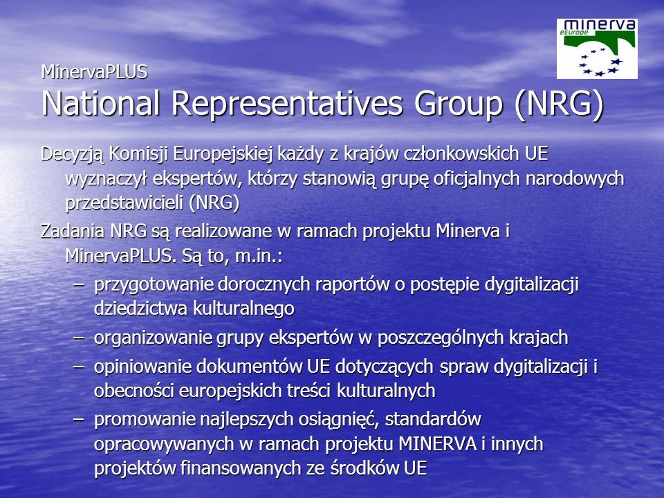 MinervaPLUS National Representatives Group (NRG) Decyzją Komisji Europejskiej każdy z krajów członkowskich UE wyznaczył ekspertów, którzy stanowią grupę oficjalnych narodowych przedstawicieli (NRG) Zadania NRG są realizowane w ramach projektu Minerva i MinervaPLUS.