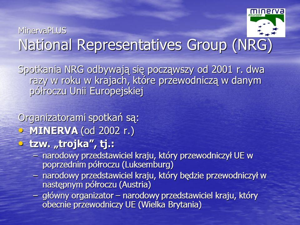 MinervaPLUS National Representatives Group (NRG) Spotkania NRG odbywają się począwszy od 2001 r.
