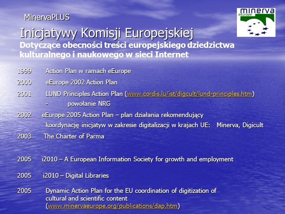 Inicjatywy Komisji Europejskiej Inicjatywy Komisji Europejskiej Dotyczące obecności treści europejskiego dziedzictwa kulturalnego i naukowego w sieci Internet 1999 Action Plan w ramach eEurope 2000 eEurope 2002 Action Plan 2001LUND Principles Action Plan (www.cordis.lu/ist/digcult/lund-principles.htm) - powołanie NRG www.cordis.lu/ist/digcult/lund-principles.htm 2002 eEurope 2005 Action Plan – plan działania rekomendujący koordynację inicjatyw w zakresie digitalizacji w krajach UE: Minerva, Digicult 2003 The Charter of Parma 2005 i2010 – A European Information Society for growth and employment 2005 i2010 – Digital Libraries 2005 Dynamic Action Plan for the EU coordination of digitization of cultural and scientific content (www.minervaeurope.org/publications/dap.htm) www.minervaeurope.org/publications/dap.htm MinervaPLUS