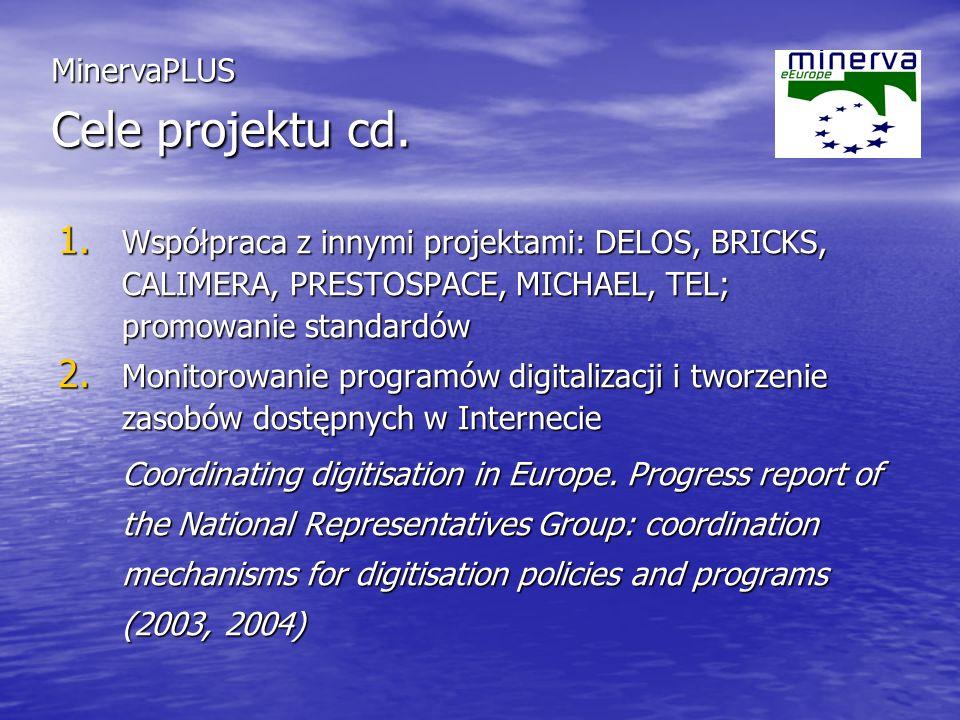 1. Współpraca z innymi projektami: DELOS, BRICKS, CALIMERA, PRESTOSPACE, MICHAEL, TEL; promowanie standardów 2. Monitorowanie programów digitalizacji