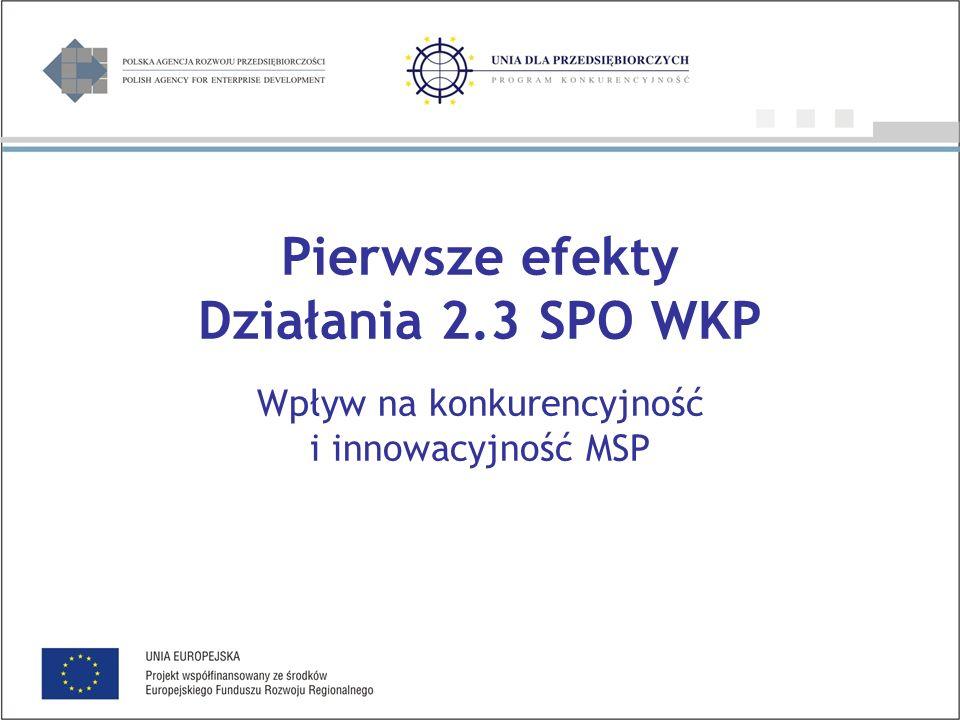Pierwsze efekty Działania 2.3 SPO WKP Wpływ na konkurencyjność i innowacyjność MSP