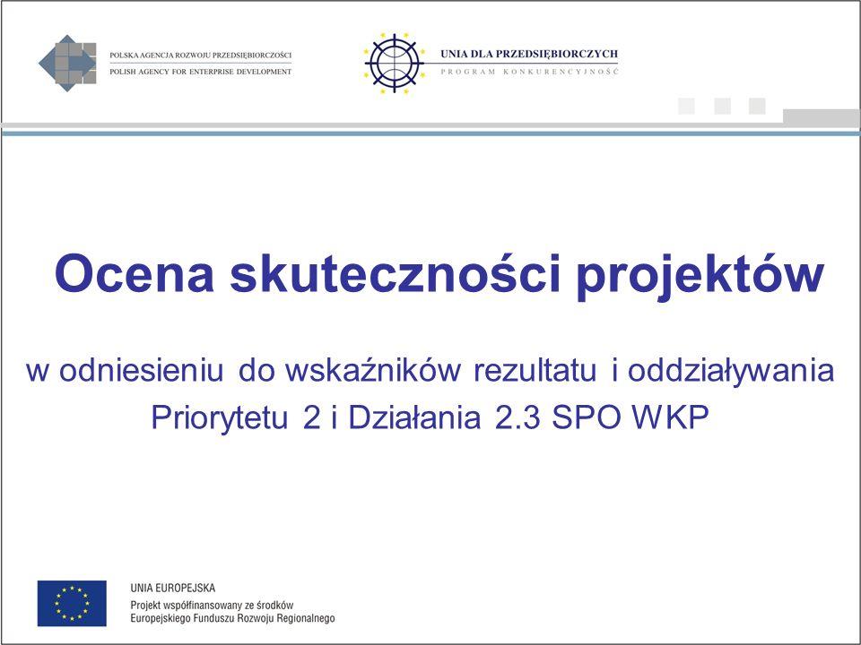 Ocena skuteczności projektów w odniesieniu do wskaźników rezultatu i oddziaływania Priorytetu 2 i Działania 2.3 SPO WKP
