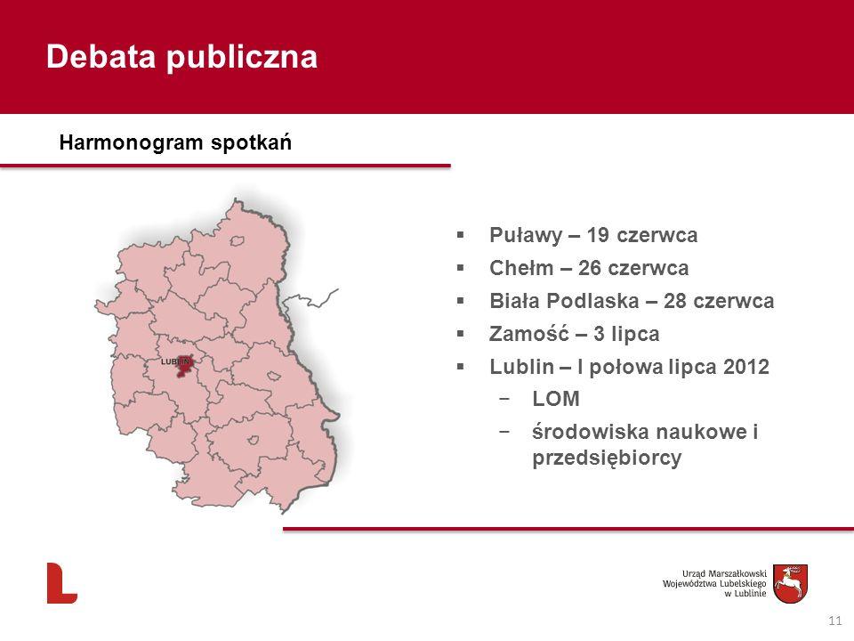 Debata publiczna 11 Harmonogram spotkań Puławy – 19 czerwca Chełm – 26 czerwca Biała Podlaska – 28 czerwca Zamość – 3 lipca Lublin – I połowa lipca 2012 LOM środowiska naukowe i przedsiębiorcy