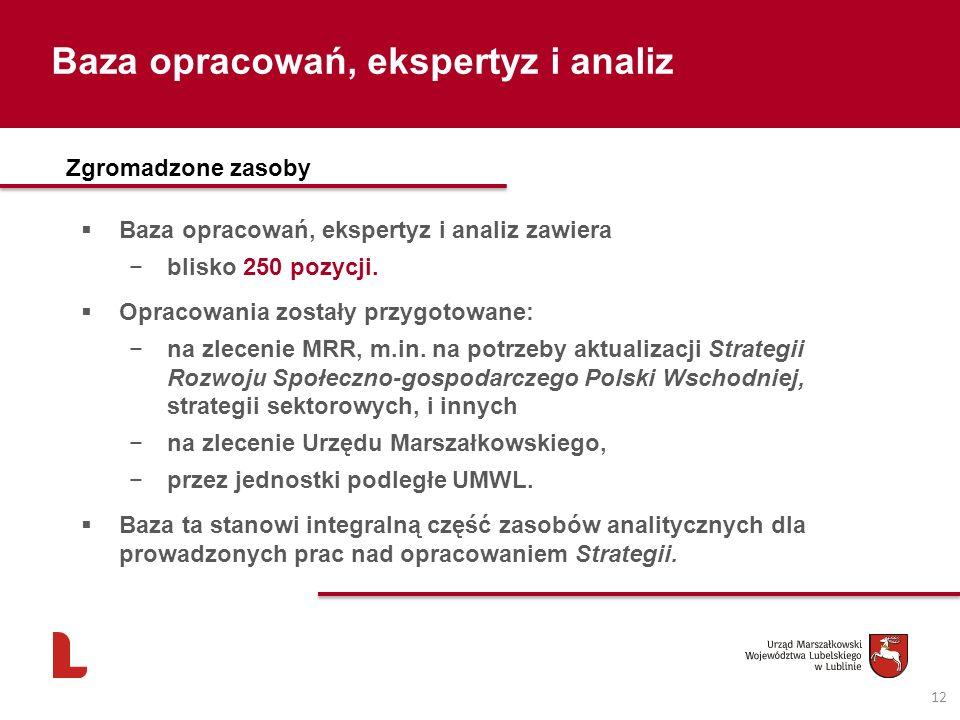 Baza opracowań, ekspertyz i analiz 12 Zgromadzone zasoby Baza opracowań, ekspertyz i analiz zawiera blisko 250 pozycji.