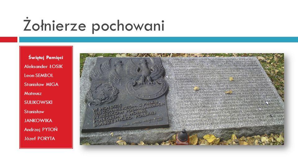Żołnierze pochowani Świętej Pamięci Aleksander ŁOSIK Leon SEMBOL Stanisław MIGA Mateusz SULIKOWSKI Stanisław JANKOWIKA Andrzej PYTOŃ Józef PORYTA