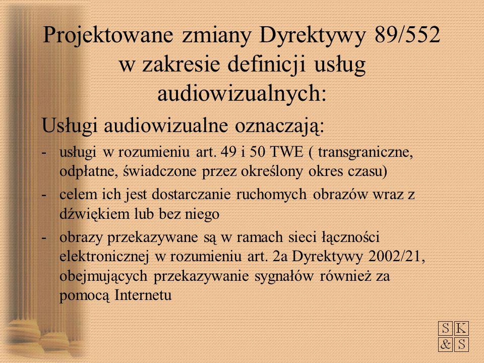 Projektowane zmiany Dyrektywy 89/552 w zakresie definicji usług audiowizualnych: Usługi audiowizualne oznaczają: -usługi w rozumieniu art.
