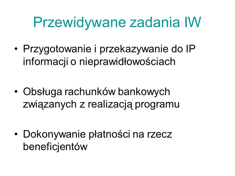 Przewidywane zadania IW Przygotowanie i przekazywanie do IP informacji o nieprawidłowościach Obsługa rachunków bankowych związanych z realizacją programu Dokonywanie płatności na rzecz beneficjentów