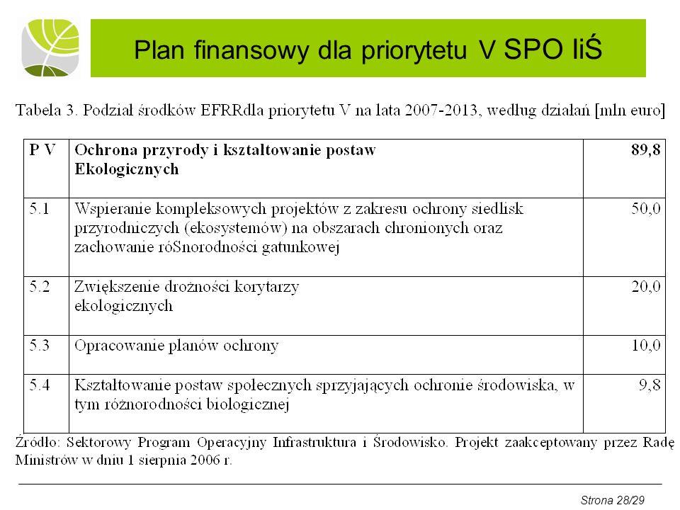 Plan finansowy dla priorytetu V SPO IiŚ Strona 28/29