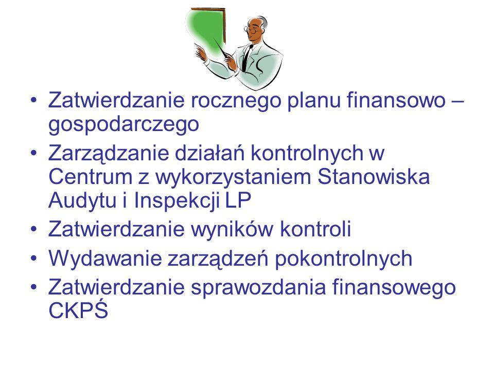 Zatwierdzanie rocznego planu finansowo – gospodarczego Zarządzanie działań kontrolnych w Centrum z wykorzystaniem Stanowiska Audytu i Inspekcji LP Zatwierdzanie wyników kontroli Wydawanie zarządzeń pokontrolnych Zatwierdzanie sprawozdania finansowego CKPŚ