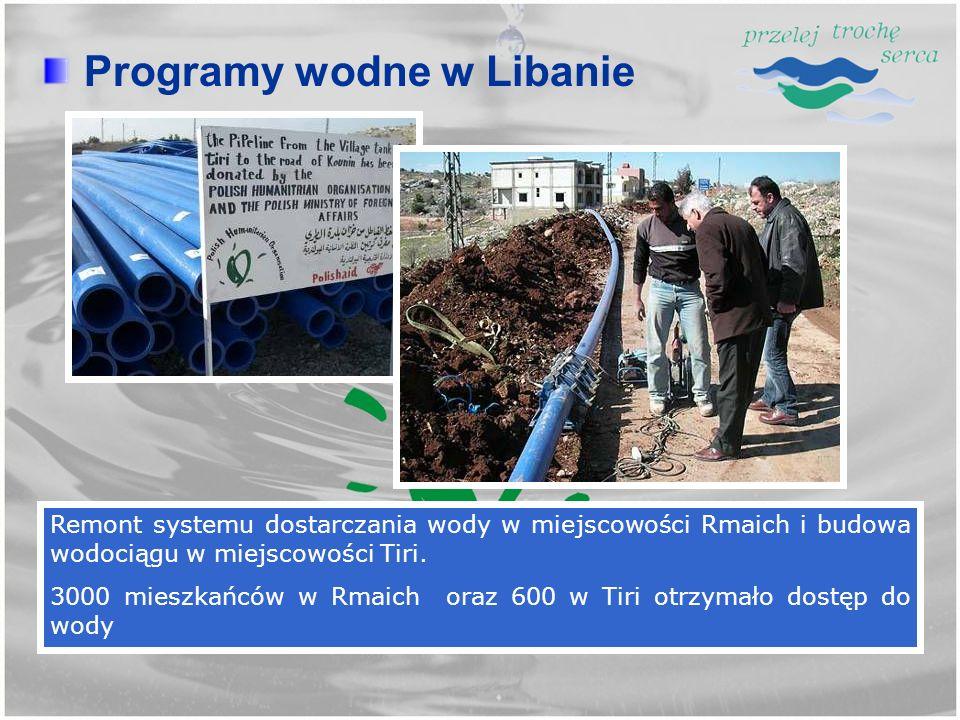 Remont systemu dostarczania wody w miejscowości Rmaich i budowa wodociągu w miejscowości Tiri. 3000 mieszkańców w Rmaich oraz 600 w Tiri otrzymało dos