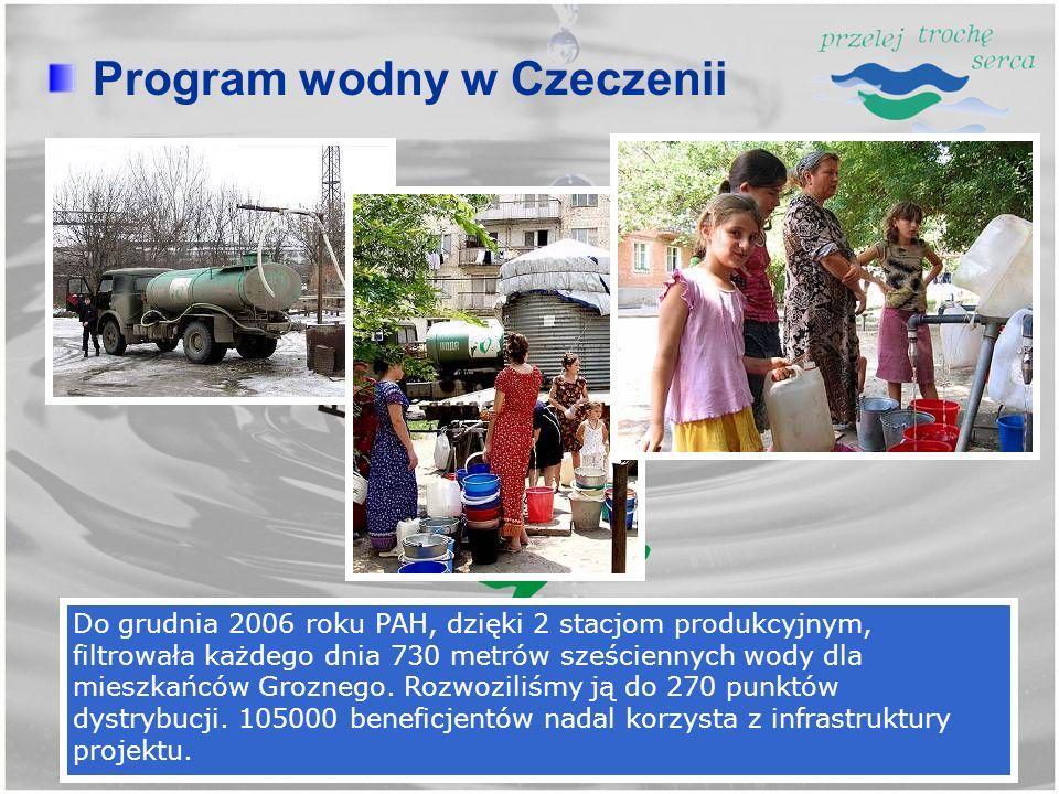 Do grudnia 2006 roku PAH, dzięki 2 stacjom produkcyjnym, filtrowała każdego dnia 730 metrów sześciennych wody dla mieszkańców Groznego. Rozwoziliśmy j