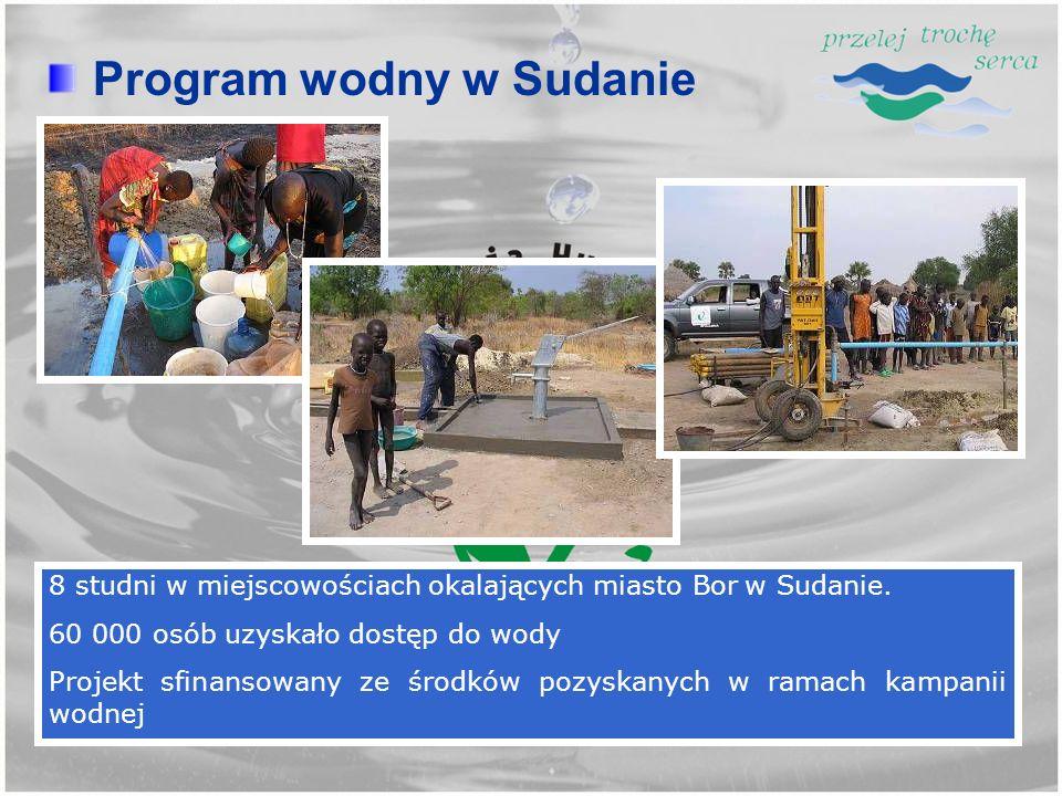 Program wodny w Sudanie 8 studni w miejscowościach okalających miasto Bor w Sudanie. 60 000 osób uzyskało dostęp do wody Projekt sfinansowany ze środk