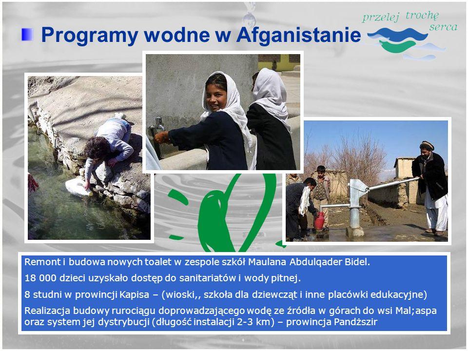Remont i budowa nowych toalet w zespole szkół Maulana Abdulqader Bidel. 18 000 dzieci uzyskało dostęp do sanitariatów i wody pitnej. 8 studni w prowin