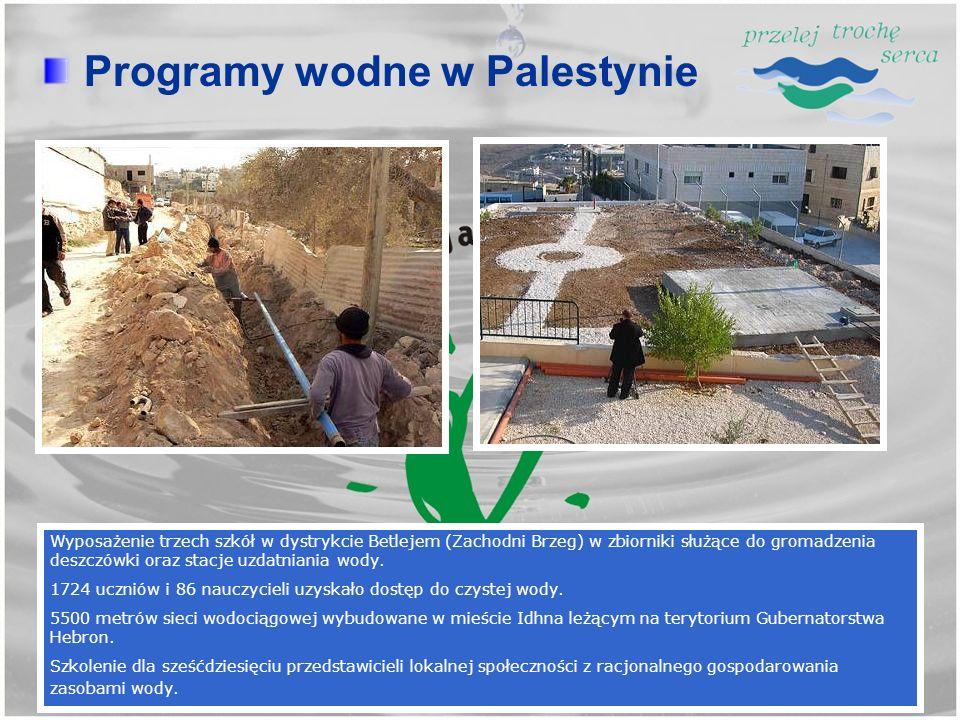Wyposażenie trzech szkół w dystrykcie Betlejem (Zachodni Brzeg) w zbiorniki służące do gromadzenia deszczówki oraz stacje uzdatniania wody. 1724 uczni