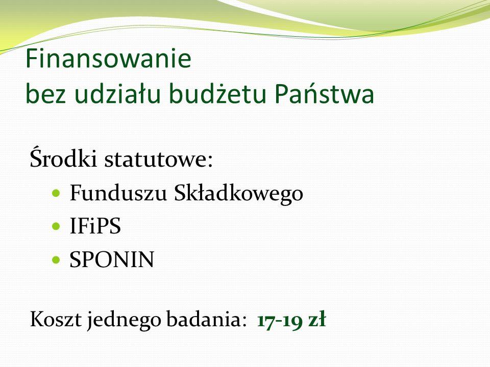 Finansowanie bez udziału budżetu Państwa Środki statutowe: Funduszu Składkowego IFiPS SPONIN Koszt jednego badania: 17-19 zł
