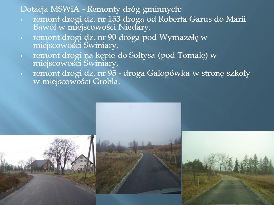 Dotacja MSWiA - Remonty dróg gminnych: remont drogi dz.