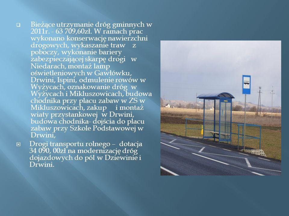 Bieżące utrzymanie dróg gminnych w 2011r.- 63 709,60zł.