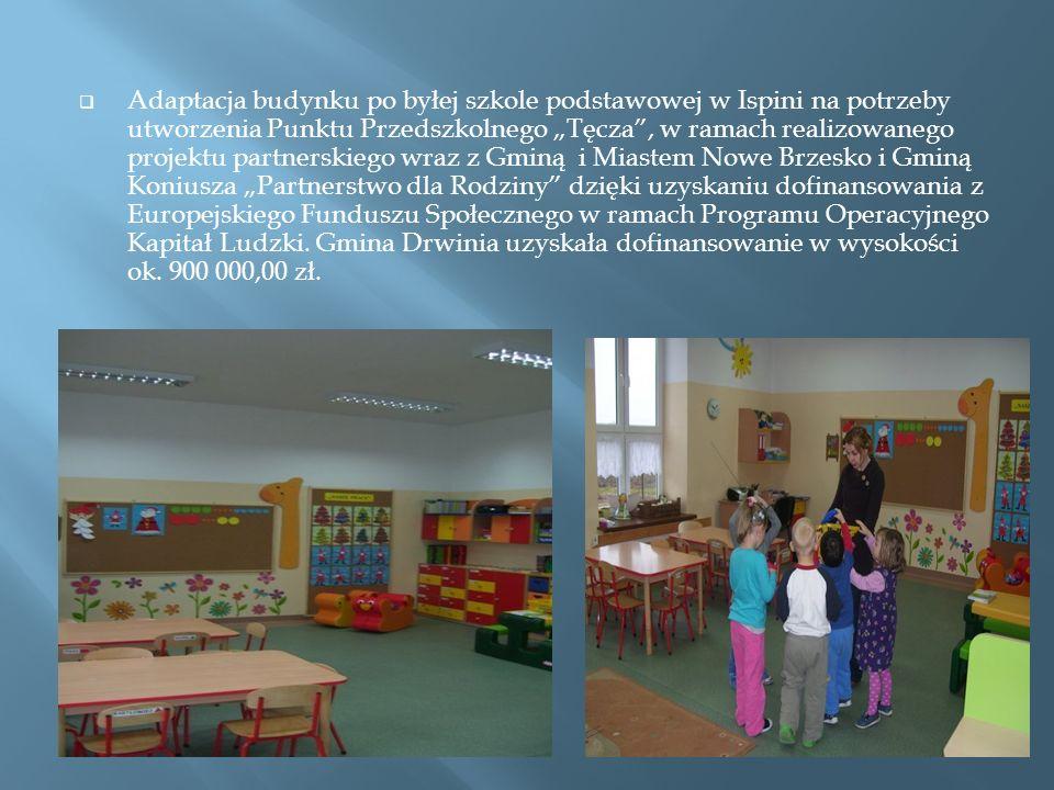 Adaptacja budynku po byłej szkole podstawowej w Ispini na potrzeby utworzenia Punktu Przedszkolnego Tęcza, w ramach realizowanego projektu partnerskiego wraz z Gminą i Miastem Nowe Brzesko i Gminą Koniusza Partnerstwo dla Rodziny dzięki uzyskaniu dofinansowania z Europejskiego Funduszu Społecznego w ramach Programu Operacyjnego Kapitał Ludzki.
