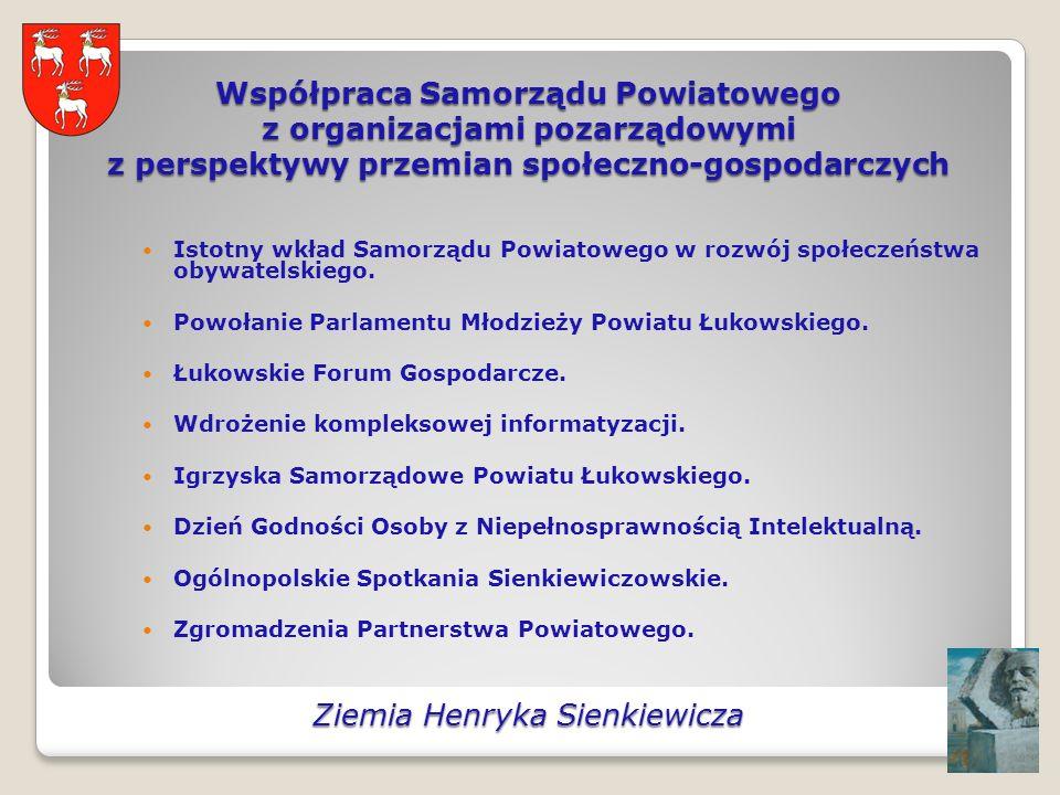 Współpraca Samorządu Powiatowego z organizacjami pozarządowymi z perspektywy przemian społeczno-gospodarczych Istotny wkład Samorządu Powiatowego w rozwój społeczeństwa obywatelskiego.